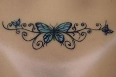 Back Tattoos For Females – 6 Tattoo Designs That Look Good on the Lower Back Real hand painted butterfly back tattoo on silicone Sinthetic doll. Lower Back Tattoos For Guys Girl Back Tattoos, Back Tattoo Women, Girly Tattoos, Pretty Tattoos, Lower Back Tattoos, Tribal Tattoos, Small Tattoos, Tattoos For Women, Tatoos