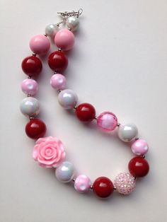 Valentines Chunky necklace ..chunky bead necklace by GirlzNGlitter, $16.50