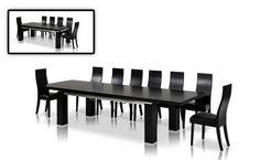 Modrest Modern Rectangular Black Oak Extendable Dining Table
