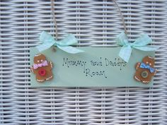 Personalised Children s Gifts Mum And Dad Name Door Room Sign Gifts Gingerbread Personalised Childrens Gifts, Playroom Signs, Bedroom Door Signs, Wooden Bedroom, Room Doors, Gifts For Mum, Gingerbread Man, Handmade Wooden, Wooden Signs