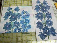 Delphiniums Stitched
