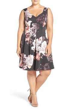 Adrianna Papell Seamed Faille Fit & Flare Dress (Plus Size)