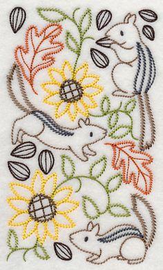 Chipmunks and Sunflower Medley (Vintage) design (H7666) from www.Emblibrary.com