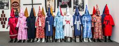 <strong>Birth of a Nation Project</strong><strong>:</strong> a recast of KKK robes in Kente, camouflage, white satin, and other fabrics. For the year 2015, Rucker is creating at least one new Ku Klux Klan robe a week.&nbsp