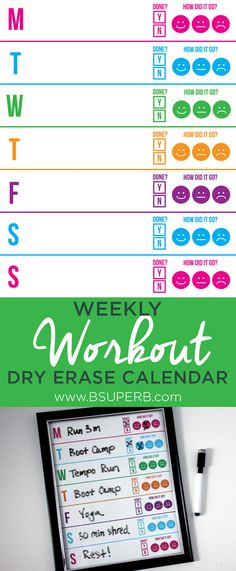 Weekly Workout Dry Erase Calendar