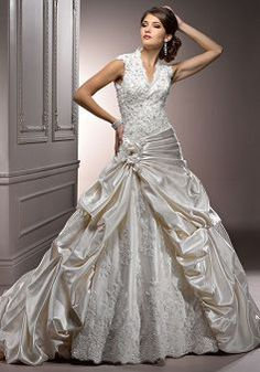 Timeless Natural Waist Ball Gown V Neck Satin Cathedral Train Wedding Dress - 1300100945B - US$294.99 - BellasDress