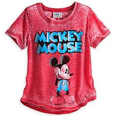 Disney Mickey Mouse Fashion Tee for Women   Disney StoreMickey Mouse Fashion Tee for Women - Mickey isn't shy about appearing on our vintage look tee with a fashion forward cut, low in back and high in the front, with a touch of Hollywood glitter and a back seam to make it extra special.