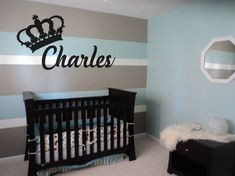 Baby Boy Nursery Room İdeas 348747564869472499 - My son's first nursery…Hubby and I painted 3 toned horizontal lines for a accent wall…now we re-did his room with vertical lines.I Love Both… Source by antwanjuls Grey Boys Rooms, Baby Boy Rooms, Baby Boy Nurseries, Striped Walls Nursery, Striped Room, Nursery Stripes, Boy Nursery Colors, Baby Bedroom, Nursery Room