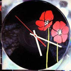 Flower poppy red vinyl record spray paint decoration by GoVinyls