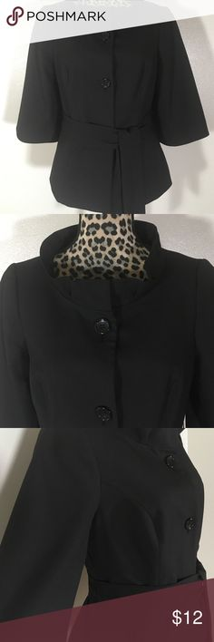 """The Limited Blazer The Limited Belted Blazer;  Wide 3/4"""" Sleeve Length;  Side Pockets;  3-Button Closure, No Signs of Wear;  1- Hidden Snap Closure at the Neck;  23"""" Length;  36"""" Bust;  32"""" Waist;  67% Polyester, 29% Viscose, 4% Spandex; 100% Polyester Lining;  Dry Clean Only The Limited Jackets & Coats Blazers"""