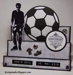 Kort med tema Fotball - Fotballkort I Boy Cards, Kids Cards, Confirmation Cards, Masculine Cards, Young People, Scrapbook, Boys, How To Make, Inspiration