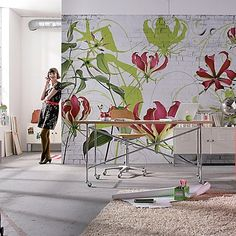 Gloriosa Wall Mural - contemporary - Wallpaper - Brewster Home Fashions Wall Murals, Wall Art, Wallpaper Murals, Wall Decal, Piece A Vivre, Flower Wall Decor, Flower Mural, Mural Painting, Wall Treatments