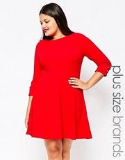 Club L Plus Skater Dress With Button Sleeves