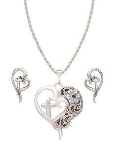 Silver Heart & Cross Jewelry Set #WomensAccessories #Jewelry #WomensFashion #WesternFashion #WesternStyle #CowgirlChic #WesternChic