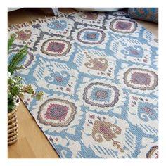 Alfombra de algodón 100% de estilo étnico, fabricada en India en tonos claros y colores alegres y luminosos, de 120x180 cm