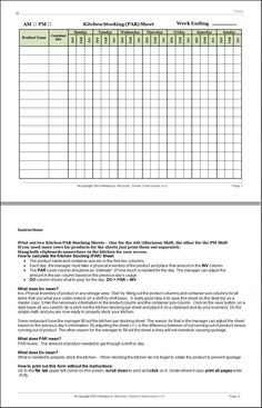 Restaurant Kitchen Prep Sheets new cumberland, pennsylvania - restaurant kitchen forms