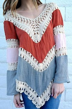 Crochet Panel Beach Tunic Cover Up Top - Red - One Size(fit Size Xs To M) f259558fb5