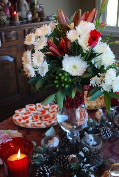tulips, mums & lilies set the mood