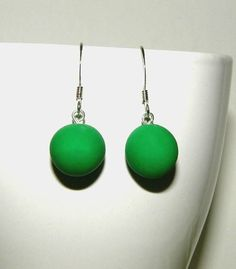 Handmade Emerald Green Round Clay Earrings by AnisasClayCreations Clay Earrings, Polymer Clay Jewelry, Handmade Necklaces, Handmade Jewelry, Birthday Gifts For Her, Affordable Jewelry, Gift Store, Ring Necklace, Emerald Green