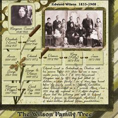 Edward Wilson 1835-1908 - sample of family history scrapbooking