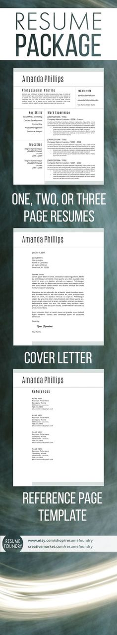 44 best Two Page Resume Template (CV Template) images on Pinterest