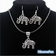 Tibet Silver Chinese Style Elephant Pendant Necklace Earring Hook Jewelry Set