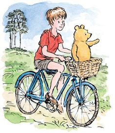 pooh balanced himself in the bicycle basket and directed christopher robin all the way to where owl was hovering on a friendly current of air. Winnie The Pooh Classic, Winnie The Pooh Honey, Winne The Pooh, Winnie The Pooh Friends, Pooh Bear, Tigger, Eeyore, Tao Of Pooh, Hundred Acre Woods