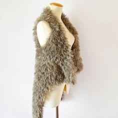 Knit Faux Fur Vest Jacket In Khaki - Small, Medium Size, Hip Length Shrug - Women's Knit Wrap