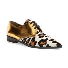 Women's Marni Metallic Leather & Genuine Calf Hair Lace-Up Flat ($300) ❤ liked on Polyvore featuring shoes, flats, gold, leather oxfords, metallic shoes, almond toe flats, calf hair flats and lace up oxfords
