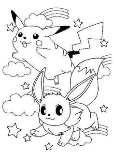 pokemon coloring page pikachu and eevee - Free Pokemon Coloring Pages