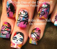 Day of the Dead Girl #halloween #halloweennailart #dayofthedead #autumn #fall #sugarskulls #fall2015 #nailart #nails #art #nail #design #tutorial #rainbow #diy #watercolor