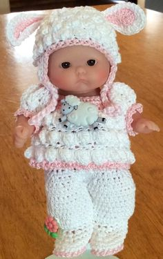 Precious Little Lamb Outfit Hand Crocheted for 5 inch Berenguer Doll or Similar | eBay