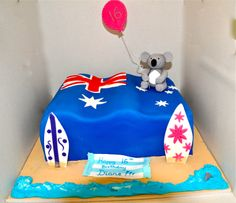 Australian theme cake for an exchange student: Australian flag with a Koala figurine Bon Voyage Cake, Australia Cake, Australian Party, Aussie Food, Flag Cake, Animal Cupcakes, Sea Cakes, My Birthday Cake, Themed Cupcakes
