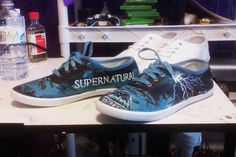 acrylic designed shoes with the theme of Supernatural tv show