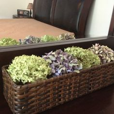 Basket of dried hydrangeas. Cheap and pretty