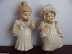 LENOX  Girl Figurines  LOT 2 GIRL W DOLL AND GIRL W BIRD FIGURINES - VINTAGE