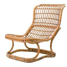 Tito Agnoli Rattan Lounge Chair for Bonacina, Italy For Sale at 1stdibs