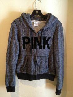 "Victoria's Secret PINK gray w/ black velvet ""PINK"" letters Zip-Up Hoodie Jacket Size M | eBay - $25.00 + shipping"