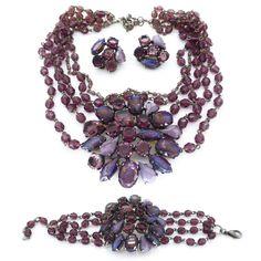 VINTAGE ART DECO DRAGONS BREATH PURPLE GLASS NECKLACE BRACELET EARRINGS PARURE SET | Clarice Jewellery