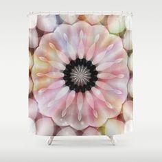 Light Beams Flower Kaleidoscope Shower Curtain