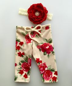 Look what I found on #zulily! Red Flower Pants & Headband - Infant #zulilyfinds