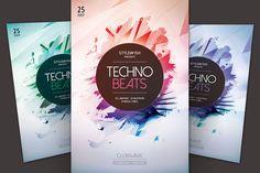 Techno Beats Flyer by styleWish on @creativemarket