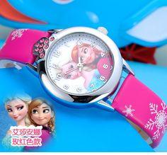 2016新しい relojes漫画子供腕時計王女エルザアンナ腕時計ファッション子供かわいい レロジオ革クォーツ腕時計女の子ギフト
