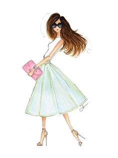 RESERVED for Janet, Fashion Illustration Print, Spring Sorbet