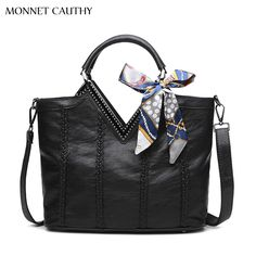 29.52$  Buy now - http://ali857.shopchina.info/go.php?t=32779276939 - MONNET CAUTHY Bag Ladies Solid Color Black Red Grey Top Handle Bags Classics Elegant Genuine Leather Good Quanlity Crossbody New  #buyonlinewebsite