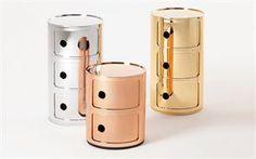 COMPONIBILI mesita, color oro, plata y bronce, diseño Anna Castelli