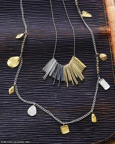 "Let's Hang Out Necklace | Jewelry by Silpada Designs Sleek streaks of Brass and Sterling Silver rendezvous in the middle of the ornate Let's Hang Out Necklace. Dress up a denim shirt with this modern, mixed-metal piece. 18"" length.  $99"