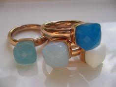 qudo Ring * echt vergoldet Roségold * Caribbean Blue * White Opal *