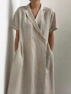 Minimalist v-neck collar linen wrap dress with shell buttons 80s Fashion, Korean Fashion, Boho Fashion, Fashion Dresses, Fashion Tips, Petite Fashion, Gothic Fashion, Fashion Pants, Winter Fashion