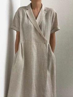 Minimalist v-neck collar linen wrap dress with shell buttons 80s Fashion, Korean Fashion, Boho Fashion, Fashion Dresses, Fashion Tips, Petite Fashion, Gothic Fashion, Fashion Pants, Winter Fashion